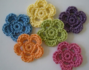 Rainbow of Crocheted Flowers - Blue, Yellow, Purple, Orange, Green and Pink - Cotton - Crocheted Embellishments - Crocheted Appliques