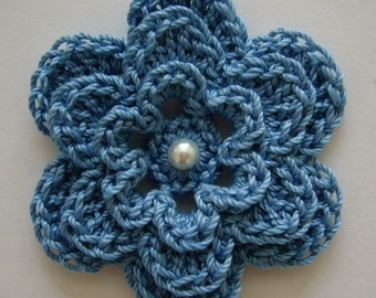 Crocheted Flower - Blue with Pearl - Cotton Applique - Cotton Embellishment - Flower Applique