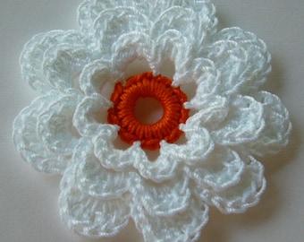 Crocheted Flower - White with Pumpkin - Cotton Flower - Crocheted Flower Applique - Crocheted Flower Embellishment