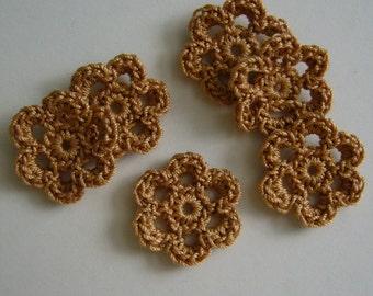 Mini Six Crocheted Flowers - Copper Mist - Cotton Flowers - Crocheted Flower Appliques - Crocheted Flower Embellishments - Set of 6
