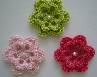 Trio of Crocheted Flowers - Lime Green, Pink and Hot Pink with Pearl - Cotton Flowers - Crocheted Flower Appliques - Crocheted Embelishments