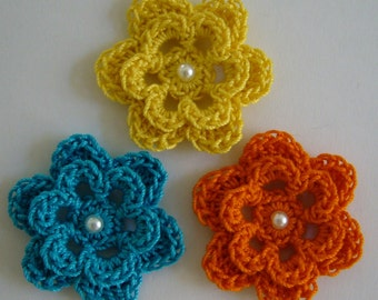 Trio of Crocheted Flowers - Bright Yellow, Pumpkin and Parakeet Blue with Pearl - Cotton - Crocheted Appliques - Crocheted Embellishments