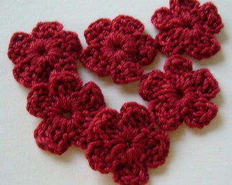 Crocheted Flowers - Red Forget-Me-Nots - Cotton - Set of 6