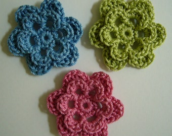 Trio of Crocheted Flowers - Blue, Rose Pink and Lime Green