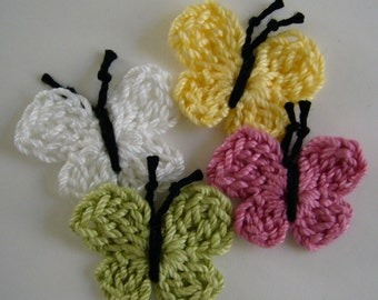 Crocheted Butterflies - Yellow, Rose Pink, Lime Green and White - Cotton - Crocheted Appliques - Crocheted Embellishments