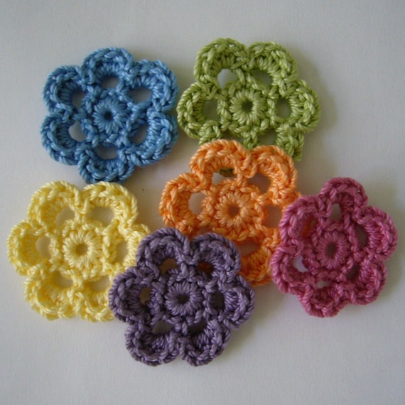 Rainbow of Crocheted Flowers - Six Petal