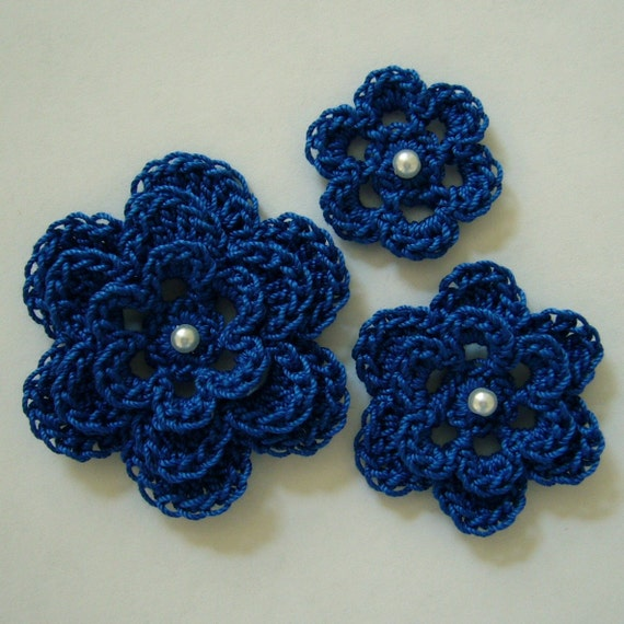 Crocheted Flowers - Royal Blue with a Pearl - Cotton Flower Appliques