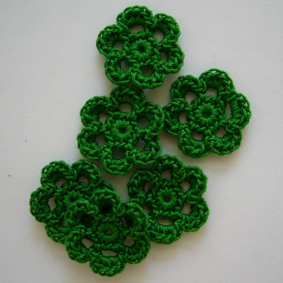 Green Crocheted Flowers - Myrtle Green - Cotton Flowers - Crocheted Flower Embellishments - Crocheted Flower Appliques - Set of 6