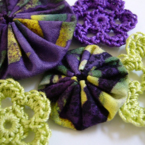 Yo-Yos and Crocheted Flowers - Purple and Lime Green - Crocheted Appliques - Crocheted Embellishments