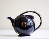 Hall Airflow Teapot - Vintage Navy and Gold Teapot