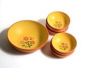 Vintage Orange and Yellow Salad Bowl Set