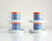 Vintage Striped Demitasse Cups and Saucers