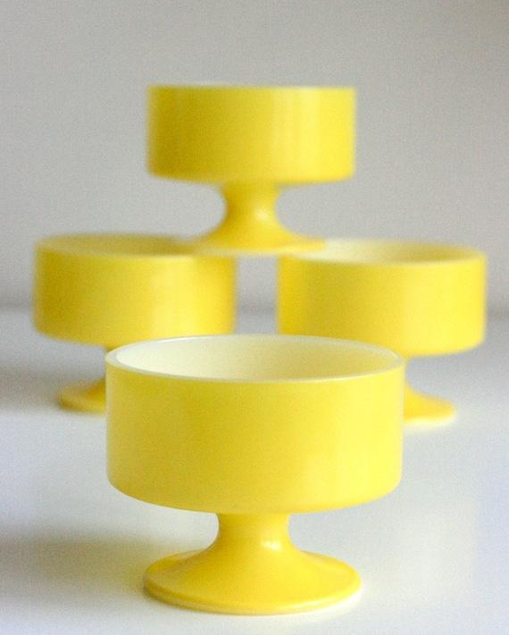Set of Four Vintage Yellow Ice Cream Bowls
