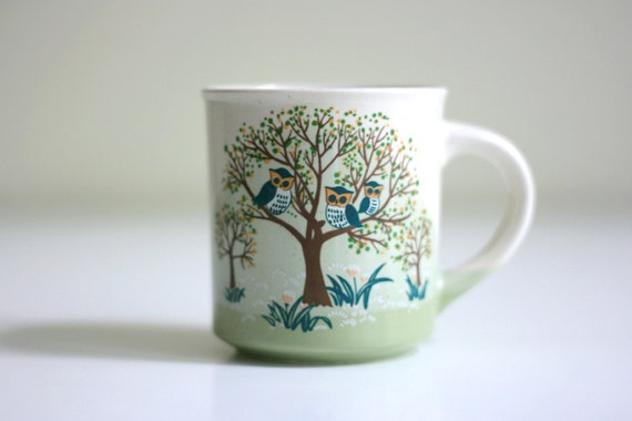Vintage Mug - Owls in a Tree