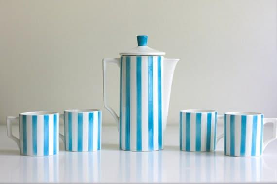 Aqua Striped Coffee Pot and Mugs