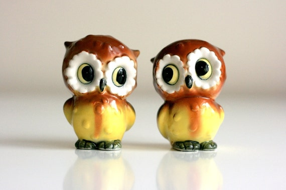 Vintage owl salt and pepper shakers by wiseapple on etsy
