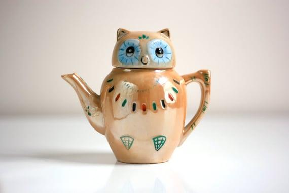 Vintage Lusterware Owl Teapot for One