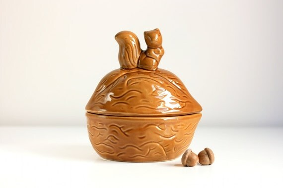 RESERVED - Vintage Squirrel and Nut Container