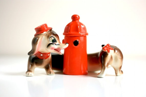 Vintage Dachshund Dog Salt and Pepper Shakers