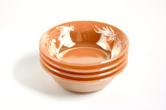 Vintage Peach Luster Ware Bowls by Fire King