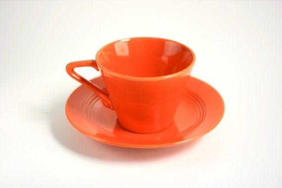 Vintage Fiesta Harlequin Teacup and Saucer in Red / Orange
