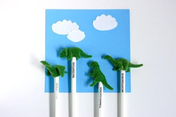 Vintage Flocked Dinosaur Pencils