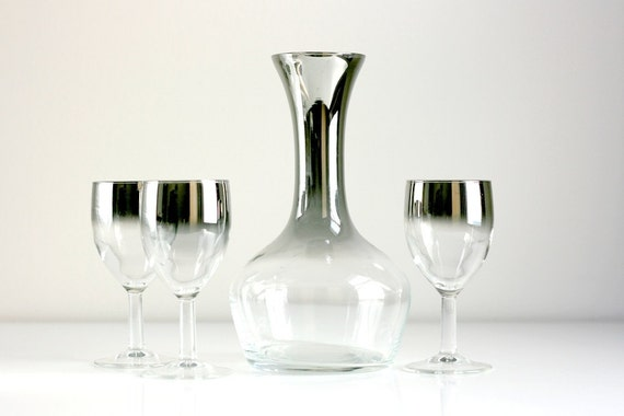 Vintage Silver Ombre Wine Glasses and Decanter