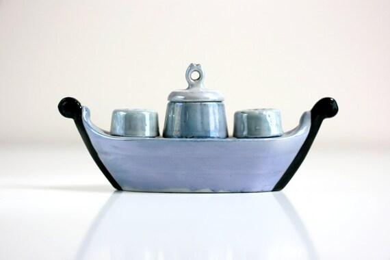 Vintage Lusterware Salt and Pepper Shaker Boat