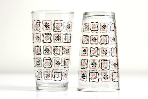 Vintage Pink and Black Flower Glasses - Set of Eight
