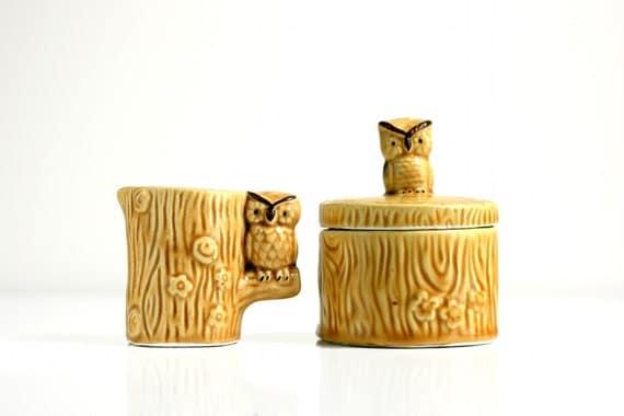 Vintage Owls Cream and Sugar Set