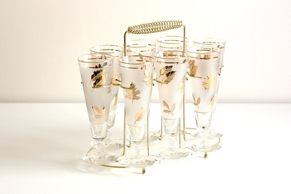 Vintage Frosted Gold Leaf Pilsner Glasses with Caddy