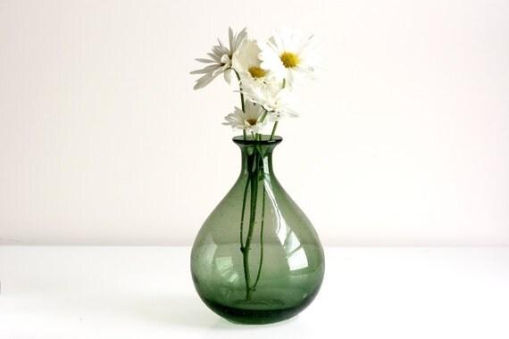 Vintage Green Blown Glass Vase