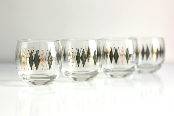 Vintage Argyle Roly Poly Tumblers