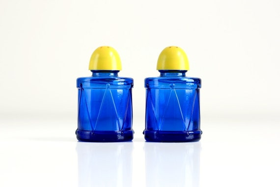 Vintage Cobalt and Yellow Salt and Pepper Shakers