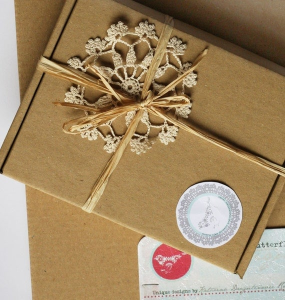 Craft ecru cardboard paper packaging simple boxes set of 5