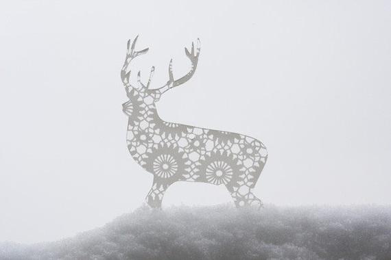 Lot of 3 transparent acrylic plexiglass doily silhouette ornaments (Bambi, deer, rabbit, snowflake, seahorse, bird)