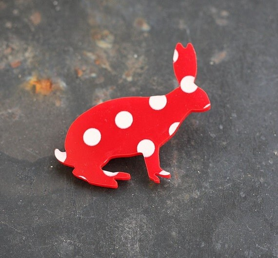 Acrylic plexiglass RED and WHITE dots silhouette BROOCH ( fawn or rabbit ) pin
