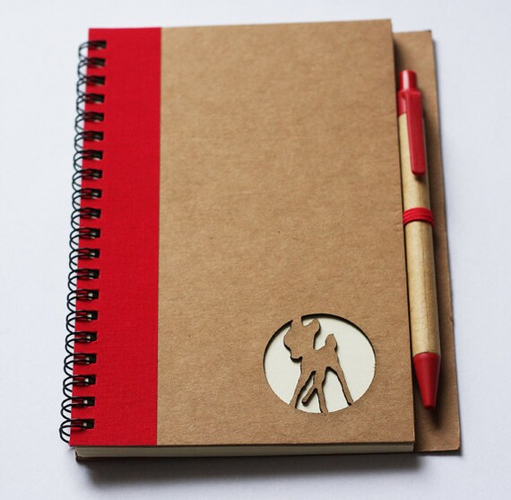 Recycled eco spiral journal craft fawn notebook with pen