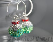Thalia in Mistletoe... Sparkly Holiday Dangle Earrings Handmade with Swarovski Crystals