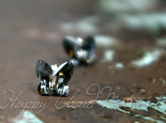 Crystal Silver Night Butterfly Studs Earrings... Handmade with Swarovski Crystals