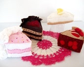 Felt Cake Pattern - Instant File - DESSERT DELIGHT Cherry Pie Cheesecake Birthday Cake