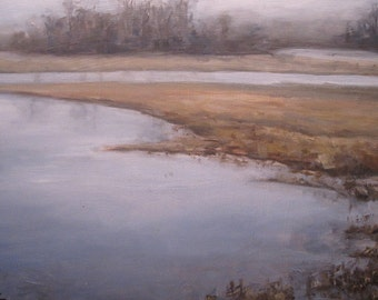 oil painting Landscape pond original  - Furnis