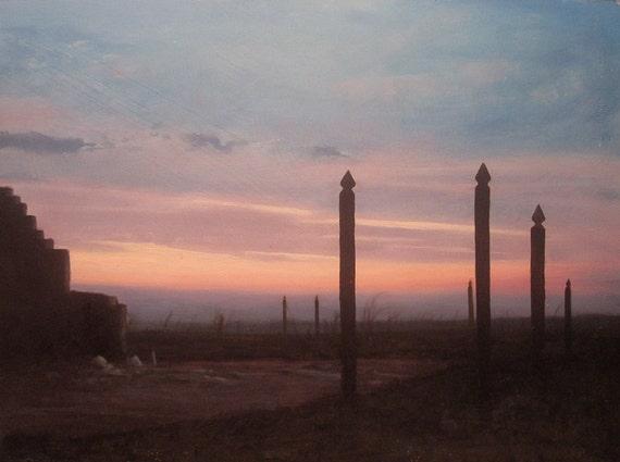 Oil Painting landscape sunrise - seek