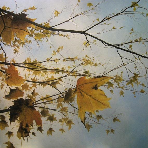 Landscape oil painting print - October Leaves