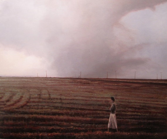 Landscape oil painting print - She Became, Hurricane