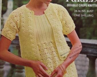 "PDF Knitting Pattern  Ladies Vintage Knitted Dress & Jacket Sizes 34-36"" (L)"
