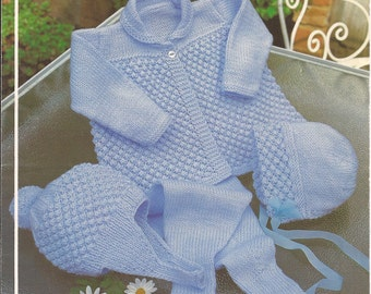 "PDF Knitting Pattern Baby Pram Set with Beret Sizes 19-21"" (B222)"