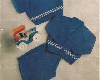 PDF Knitting Pattern Baby Boys Sweater/pants/shorts (L90)