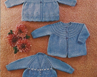 "PDF Knitting Pattern Baby Matinee Coats to fit Sizes 20-22""  (Z131)"