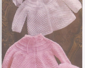 """PDF Knitting Pattern Baby Angel/Matinee Coat/Jackets and Bonnets to fit sizes 18-19""""  (Y152)"""
